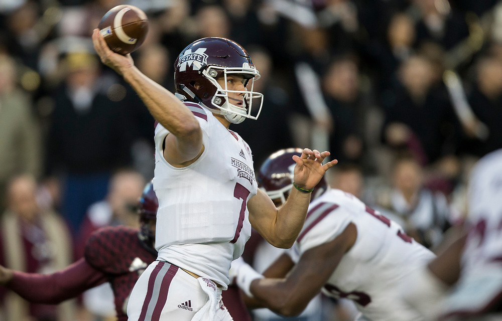Mississippi State quarterback Nick Fitzgerald (7) pass down field against Texas A&M during the first quarter of aNCAA college football game on Saturday, Oct. 28, 2017, in College Station, Texas. (AP Photo/Sam Craft)