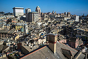 A view over the rooftops of Genoa from the Palazzo Rosso, Genoa, Italy. The Palazzo Brignole Sale or Palazzo Rosso is a house museum located in Via Garibaldi, in the historical centre of Genoa.