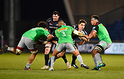 Sale Sharks centre Rohan Janse van Rensburg runs at Harlequins prop Kyle Sinkler during a Gallagher Premiership match won by Sale Sharks 27-17 at the AJ Bell Stadium, Eccles, Greater Manchester, United Kingdom, Friday, April 5, 2019. (Steve Flynn/Image of Sport)