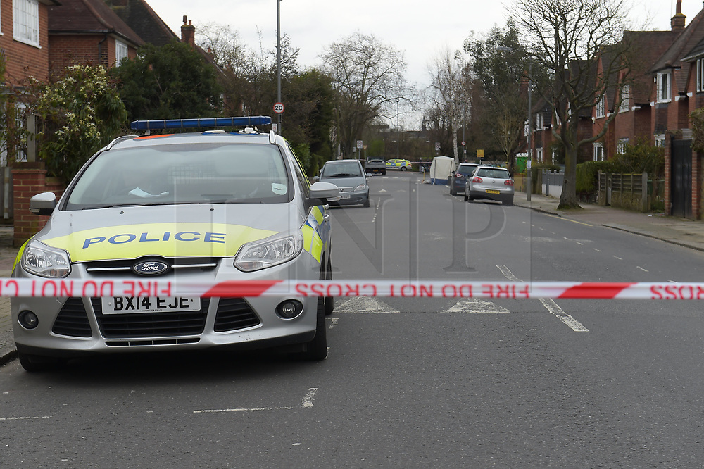 © Licensed to London News Pictures, 01/04/2018 Police at the scene of another fatal stabbing in Ellerton Road, Wandsworth, South West London where a twenty year old male was found with fatal stab wounds. Police are questioning a 21 year old male in connection with the murder. Statistics show London now has a higher number of murders than New York,  Photo credit: Steve Poston/LNP