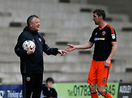 Chris Wilder manager of Sheffield Utd with Chris Basham of Sheffield Utd during the English League One match at Vale Park Stadium, Port Vale. Picture date: April 14th 2017. Pic credit should read: Simon Bellis/Sportimage