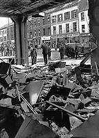 Scene from inside the office of the Automobile Association, Fanum House, Great Victoria Street, Belfast, N Ireland, following Provisional IRA bomb.19711010347a<br /> <br /> Copyright Image from Victor Patterson, Belfast, UK<br /> <br /> t: +44 28 9066 1296 (from Rep of Ireland 048 9066 1296)<br /> m: +44 7802 353836<br /> <br /> victorpattersonbelfast@gmail.com<br /> <br /> www.victorpatterson.com OR <br /> www.images4media.com<br /> <br /> Please see my Terms and Conditions of Use at https://www.victorpatterson.com/page2<br /> It is IMPORTANT that you familiarise yourself with them.<br /> <br /> Images used on the Internet incur an additional cost and must be visibly watermarked i.e. © Victor Patterson within the body of the image and copyright metadata must not be deleted. Images used on the Internet have a size restriction of 4 kbs and are chargeable at rates available at victorpatterson.com.<br /> <br /> This image is only available for the use of the download recipient i.e. television station, newspaper, magazine, book publisher, etc, and must not be passed on to any third party. It is also downloaded on condition that each and every usage is notified within 7 days to victorpattersonbelfast@gmail.com.