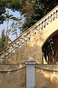 A Colonial archway and garden, Pondicherry, India. Pondicherry now Puducherry is a Union Territory of India and was a French territory until 1954 legally on 16 August 1962. The French Quarter of the town retains a strong French influence in terms of architecture and culture.
