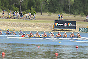 Sydney, Australia.   Interstate Women's Youth Eight , South Australia's, move away from the start pontoon at the Kings and Queen's  Cup Interstate Regatta, combined with the FISA World Cup I. and  Sydney International Rowing Regatta. Sydney International Rowing Centre, Penrith Lakes, NSW.   Saturday   23/03/2013 [Mandatory Credit. Peter Spurrier/Intersport Images]..