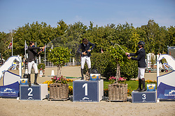 Podium 6 years, Favede Tom, Wauters Louis, Lelie Walter<br /> Belgian Championship 6 years old horses<br /> SenTower Park - Opglabbeek 2020<br /> © Hippo Foto - Dirk Caremans<br />  13/09/2020