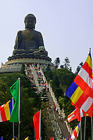 Tian Tan Buddha, also known as the Big Buddha, is a large bronze statue of the Buddha, located at Ngong Ping, Lantau Island. The statue is located near Po Lin Monastery and symbolises the harmonious relationship between man and nature, people and religion. It is a major centre of Buddhism in Hong Kong, and is also a popular tourist attraction.