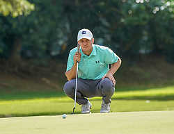 January 11, 2019 - Honolulu, HI, U.S. - HONOLULU, HI - JANUARY 11: Jordan Spieth lines up his putt on the 1st hole during the second round of the Sony Open at the Waialae Country Club in Honolulu, HI. (Photo by Darryl Oumi/Icon Sportswire) (Credit Image: © Darryl Oumi/Icon SMI via ZUMA Press)