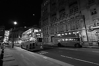 Vintage Buses in London at Night, Horse Guards Ave, London, UK, 07 September 2019, Photo by Richard Goldschmidt