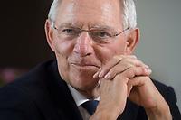 16 JUL 2014, BERLIN/GERMANY:<br /> Wolfgang Schaeuble, CDU, Bundesfinanzminister, waehrend einem Interview, in seinem Buero, Bundesministerium der Finanzen<br /> IMAGE: 20140716-02-013<br /> KEYWORDS: Wolfgang Schäuble, Büro