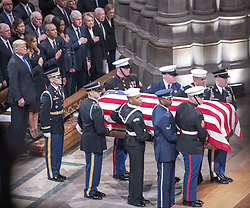 National funeral service in honor of the late former United States President George H.W. Bush at the Washington National Cathedral in Washington, DC on Wednesday, December 5, 2018. Visible in the frame are former US Vice President Dan Quayle, Marilyn Quayle, former US Vice President Dick Cheney, US President Donald J. Trump, first lady Melania Trump, former US President Barack Obama, former first lady Michelle Obama, former US President Bill Clinton, former US Secretary of State Hillary Rodham Clinton, former US President Jimmy Carter, and former first lady Rosalynn Carter.<br /> Photo by Ron Sachs / CNP/ABACAPRESS.COM