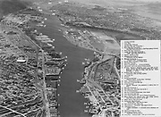 "Ackroyd 02997-22. ""Portland July 10, 1951"" looking downstream on the Willamette River & Portland waterfront from the Broadway bridge."