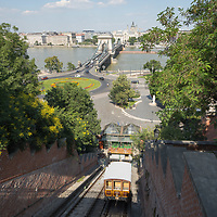 Tourist return to the 150 years old Buda Castle Hill Funicular that restarts as the COVID-19 restrictions ease in Budapest, Hungary on July 1, 2020. ATTILA VOLGYI