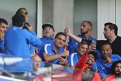 (L-R) Diego Armando Maradona during the Dutch Eredivisie match between PSV Eindhoven and AZ Alkmaar at the Phillips stadium on August 12, 2017 in Eindhoven, The Netherlands