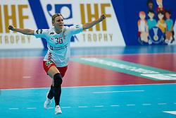 09-12-2019 JAP: Denmark - Netherlands, Kumamoto<br /> Second match Main Round Group1 at 24th IHF Women's Handball World Championship, Netherlands lost also the second match against Denmark with 27 - 24. / Freja Cohrt Kyndbol #36 of Denmark