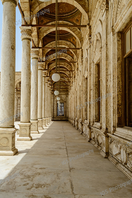 Colonnade around the courtyard of the Mohamed Ali Mosque in Cairo