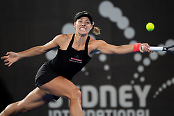 January 10, 2019 - Sydney, NSW, U.S. - SYDNEY, AUSTRALIA - JANUARY 10: Angelique Kerber (GER) stretches out for the ball at The Sydney International Tennis in the match between Angelique Kerber (GER) and Petra Kvitova (CZE) on January 10, 2018, at Sydney Olympic Park Tennis Centre in Homebush, Australia. (Photo by Speed Media/Icon Sportswire) (Credit Image: © Steven Markham/Icon SMI via ZUMA Press)