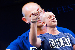 © London News Pictures. 24/05/2015. Hay-on-Wye, Powys, Wales, UK. Steve Hilton, former director of strategy for David Cameron, gives a talk at the Hay Festival 2015 – More Human: Designing a World Where People Come First. Photo credit : Graham M. Lawrence/LNP.