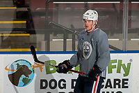 KELOWNA, BC - SEPTEMBER 23: Joel Persson #36 of the Edmonton Oilers practices at Prospera Place on September 23, 2019 in Kelowna, Canada. (Photo by Marissa Baecker/Shoot the Breeze)