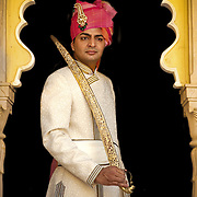 A Rajput groom wearing his wedding attire before his wedding in Udaipur, 2011
