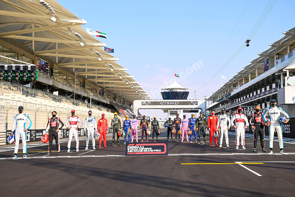 Group photo of all drivers before the 2020 Abu Dhabi Grand Prix at the Yas Marina Circuit. Photo: © Copyright: FIA Pool Image via Grand Prix Photo - for Editorial Use Only