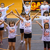 071813       Brian Leddy<br /> Cheerleaders practice their routine during the Gallup Bengal Cheer Camp Thursday at Gallup high School. The camp last from Monday to Thursday and saw about 100 kids participate.