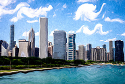 Digitial Painting of Downtown Chicago Skyline, Lake Michigan lakefront, and Crain Communications building (Smurfit-Stone Building), Trump Tower Building, One Prudential Plaza Building, Two Prudential Plaza Building, and Blue Cross Blue Shield building.