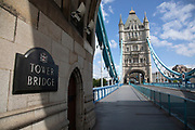 Tower Bridge is eerily quiet and silent on empty streets with very little traffic as lockdown continues and people observe the stay at home message in the capital on 11th May 2020 in London, England, United Kingdom. Coronavirus or Covid-19 is a new respiratory illness that has not previously been seen in humans. While much or Europe has been placed into lockdown, the UK government has now announced a slight relaxation of the stringent rules as part of their long term strategy, and in particular social distancing.