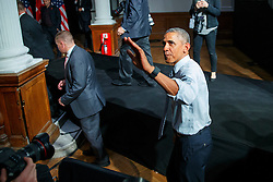 © Licensed to London News Pictures. 23/04/2016. London, UK. President of the United States BARACK OBAMA leaving after holding a Q&A session with young people at Lindley Hall, Royal Horticultural Society in central London on Saturday, 23 April 2016. Photo credit: Tolga Akmen/LNP