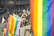 MLS Game, Orlando City v San Jose Earthquake, Orlando City dedicate match to Pulse nightclub Shootings In Orlando.  <br /> 06-18-16.<br /> Orlando's fans waving flags in support  . <br /> Orlando, Florida, USA.<br /> Picture  Mark Davison for DailyMail.com<br /> Saturday 18th June 2016.