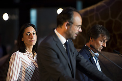 Brune Poirson and French Minister for the Ecological and Inclusive Transition Nicolas Hulot with French Prime Minister Edouard Philippe gestures and delivers his speech at the biodiversity conference at Museum national d'Histoire naturelle in Paris on July 4, 2018. Photo by Eliot Blondet/ABACAPRESS.COM