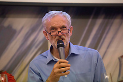 © Licensed to London News Pictures. 25/08/2015. Southampton, UK.  Jeremy Corbyn gets animated while answering a Q&A at a rally held in the Hilton at the Ageas Bowl in Southampton after rumours for a Labour split.