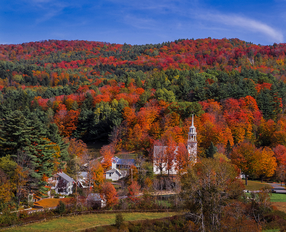 New England village and fall foliage, country homes & steeples, Strafford, VT