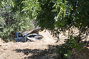 Jeffrey Prachick's, 17, Dodge Durango SUV rests along the hillside after an alleged speed contest with another car near Jacklin Road and Evans Road in Milpitas, California, on June 6, 2013. (Stan Olszewski/SOSKIphoto)