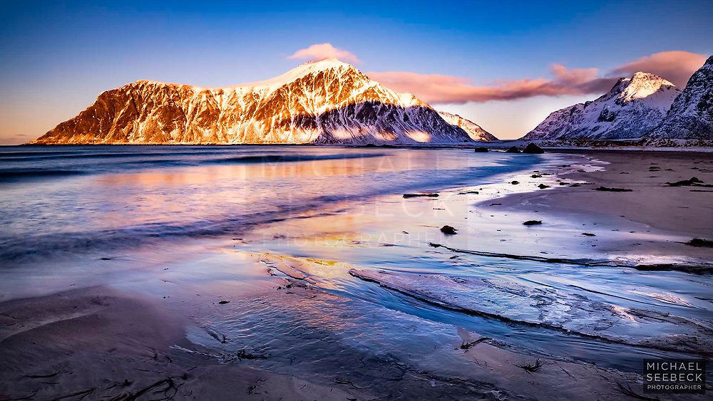 A Fine Art Print of a sunset scene at Skagsanden Beach, Norway.<br /> <br /> Limited Edition of 125