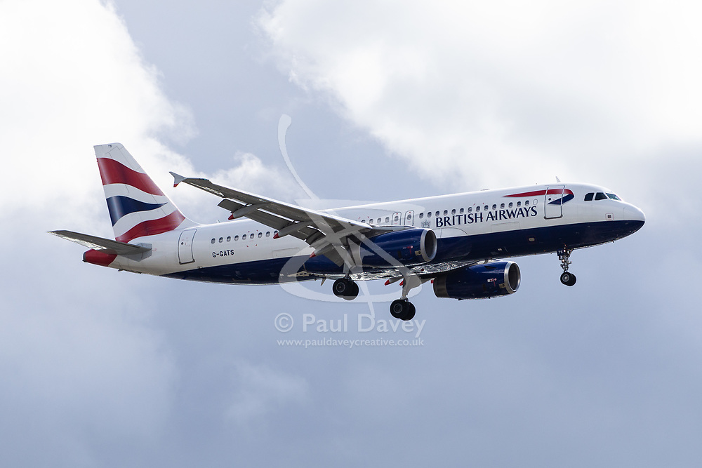 A British Airways aircraft tracked from Split in Croatia arrives at Gatwick Airport following what is thought to be the first of the repatriation flights after travel company Thomas Cook ceased trading after failing to come to a deal with its bankers and creditors, leaving tens of thousands of travellers unable to depart on their holidays from South Terminal at Gatwick Airport, and a massive repatriation exercise to return holidaymakers from destinations all over the world. London Gatwick Airport, September 23 2019.