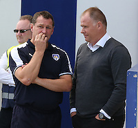 Colchester United manager Tony Humes  (L ) and Blackpool manager Neil McDonald  ( R)<br /> <br /> Photographer  Kieran Galvin/CameraSport<br /> <br /> Football - The Football League Sky Bet League One - Colchester United v Blackpool - Saturday 08th August 2015 - Weston Homes Community Stadium - Colchester<br /> <br /> © CameraSport - 43 Linden Ave. Countesthorpe. Leicester. England. LE8 5PG - Tel: +44 (0) 116 277 4147 - admin@camerasport.com - www.camerasport.com
