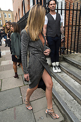 © Licensed to London News Pictures. 17/09/2016.  ABBEY CLANCY arrives for the JULIEN MACDONALD Spring/Summer 2017 show. Models, buyers, celebrities and the stylish descend upon London Fashion Week for the Spring/Summer 2017 clothes collection shows. London, UK. Photo credit: Ray Tang/LNP