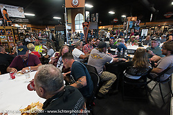 Hosted dinner at Appleton Harley-Davidson in Clarksville, Tennessee during Stage 4 of the Motorcycle Cannonball Cross-Country Endurance Run, which on this day ran from Chatanooga to Clarksville, TN., USA. Monday, September 8, 2014.  Photography ©2014 Michael Lichter.