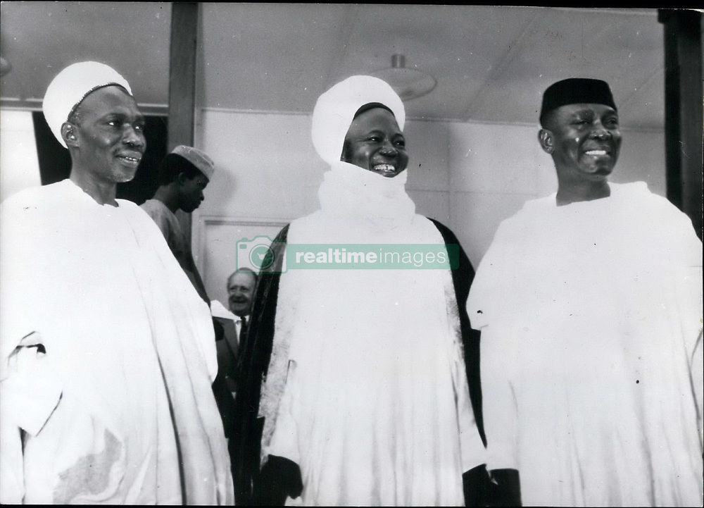 Oct. 10, 1960 - Federation Nigeria: Since OCT, 1st independent, is the state with the most citizens which has reached independence in Africa. The Capital of the state Nigeria is Lagos (LAGOS) at the Atlantic coast. Picture Shows:(Left to Right) Prime Minister Sir Abubaker Tafawa Belewe (Abubaker Tafawa Belewe); the Chief of the Northern Region Sir Ahmadu Bello (Ahmadu Bello) called Sardona of Sokoto; and Dr. Nnamdi Azikiwe (Nnamdi Azikiwe) who is at the moment president of the senate of the upper House and will become in November governor general of Nigeria. (Credit Image: © Keystone Press Agency/Keystone USA via ZUMAPRESS.com)