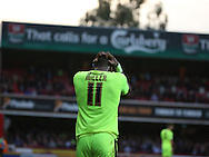 Huddersfield Town striker Ishmael Miller with his head in hands after another failed attack during the Sky Bet Championship match between Brentford and Huddersfield Town at Griffin Park, London, England on 19 December 2015. Photo by Matthew Redman.