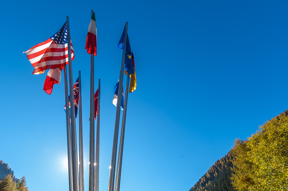 International flags display, October 2007, Dolomite Mountains, South Tyrol, Italy