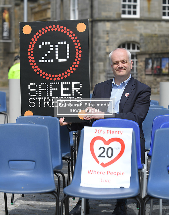 Pictured: Mark Ruskell MSP who is introducing the bill.<br /> <br /> Protesters rallied outside the Scottish Parliament as the bill by Mark Ruskell to introduce a 20mph safer streets bill nationwide is set to be debated in the parliament this week.<br /> <br /> © Dave Johnston / EEm