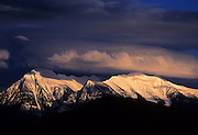 Mission Mountains at sunset from the National Bison Range. Moiese, Montana