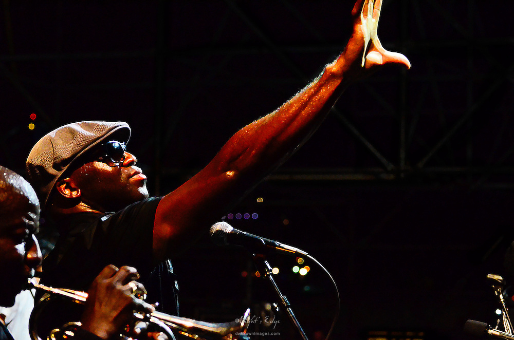 Big Sam joins The Dirty Dozen Brass Band during the Labor Day Weekend concert at Wiggins Park in Camden, NJ