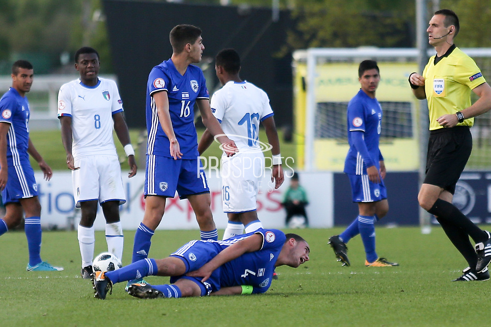 Dan Lugassy of Israel (4) gets hurt during the UEFA European Under 17 Championship 2018 match between Israel and Italy at St George's Park National Football Centre, Burton-Upon-Trent, United Kingdom on 10 May 2018. Picture by Mick Haynes.