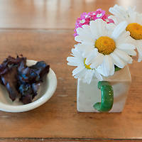 The local sea vegetable dulse, on a table in McLaughlin's Wharf Inn and restaurant. Photo by William Drumm.