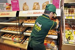 Fresh hot takeaway food is put on display in a Morrisons supermarket UK 2014