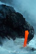 "lava from Kilauea Volcano empties into the Pacific Ocean through a lava tube Hawaii Volcanoes National Park,<br /> Hawaii Island (""the Big Island""), Hawaii, U.S.A. ( central Pacific Ocean )"