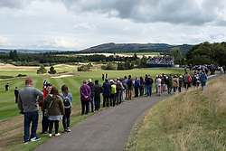 Gleneagles, Scotland, UK; 10 August, 2018.  Day three of European Championships 2018 competition at Gleneagles. Men's and Women's Team Championships Round Robin Group Stage. Four Ball Match Play format.  Pictured; Spectators along 8th fairway with Georgia Hall .