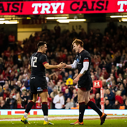 Rhys Patchell of Wales celebrates scoring his sides eighth try<br /> <br /> Photographer Simon King/Replay Images<br /> <br /> Under Armour Series - Wales v Tonga - Saturday 17th November 2018 - Principality Stadium - Cardiff<br /> <br /> World Copyright © Replay Images . All rights reserved. info@replayimages.co.uk - http://replayimages.co.uk